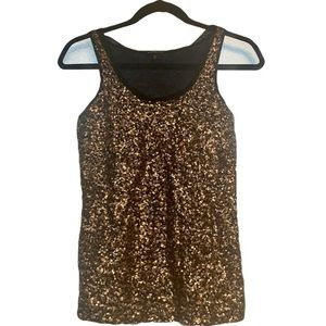 Express Tops - #009- Express black and gold sequin tank top Xs